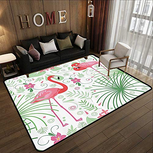 Rugs for Sale,Nautical Floral Flamingo 69 Inch by 70 Inch Polyester,Green Coral Pink 35