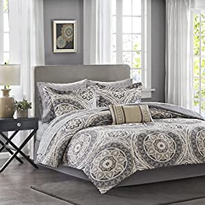 Madison Park Essentials Serenity King Size Bed Comforter Set Bed in A Bag - Taupe, Medallion – 9 Pieces Bedding Sets – Ultra Soft Microfiber Bedroom Comforters