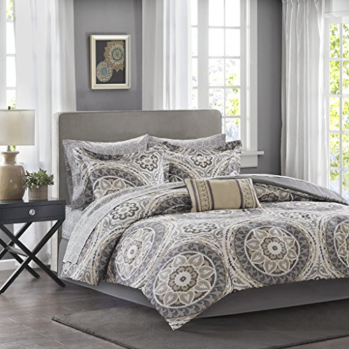 Madison Park Essentials Serenity King Size Bed Comforter Set Bed In A Bag – Taupe, Medallion – 9 Pieces Bedding Sets – Ultra Soft Microfiber Bedroom Comforters