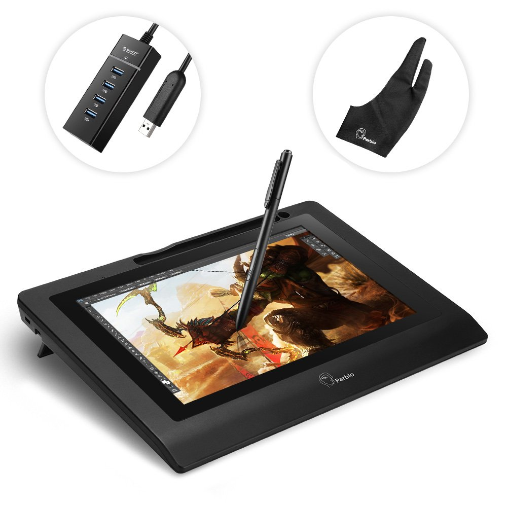 Parblo Coast10 10.1'' Digital Pen Tablet Display Drawing Monitor 10.1 Inch with Cordless and Battery-free Pen+ 4ports USB3.0 Hub+ Glove