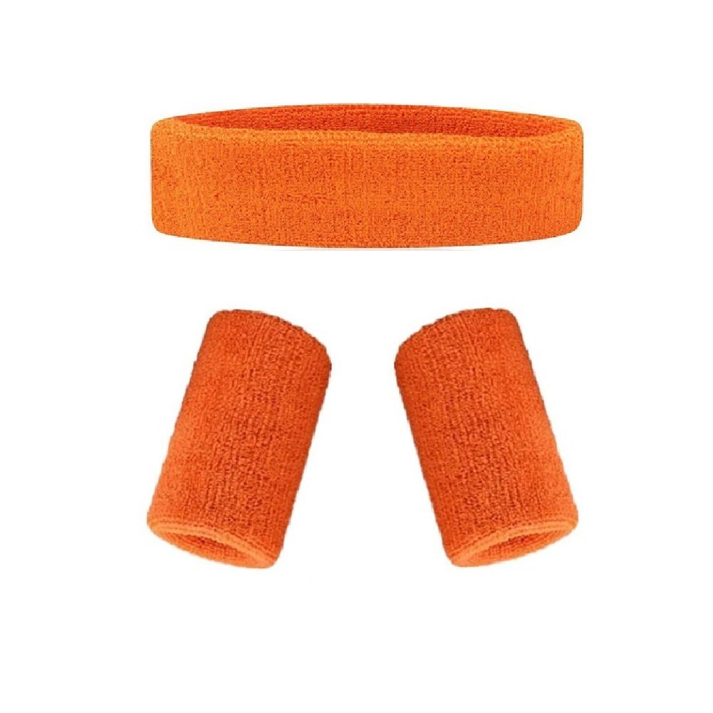 mcolicsコットン汗止めバンドセット – ( 1ヘッドバンドと2 Wristbands )、も可能な13色 – スポーツバスケットボールヨガヘッドバンド汗/汗止めバンドヘッドバンド/ブレース  オレンジ B01GNX6TCK