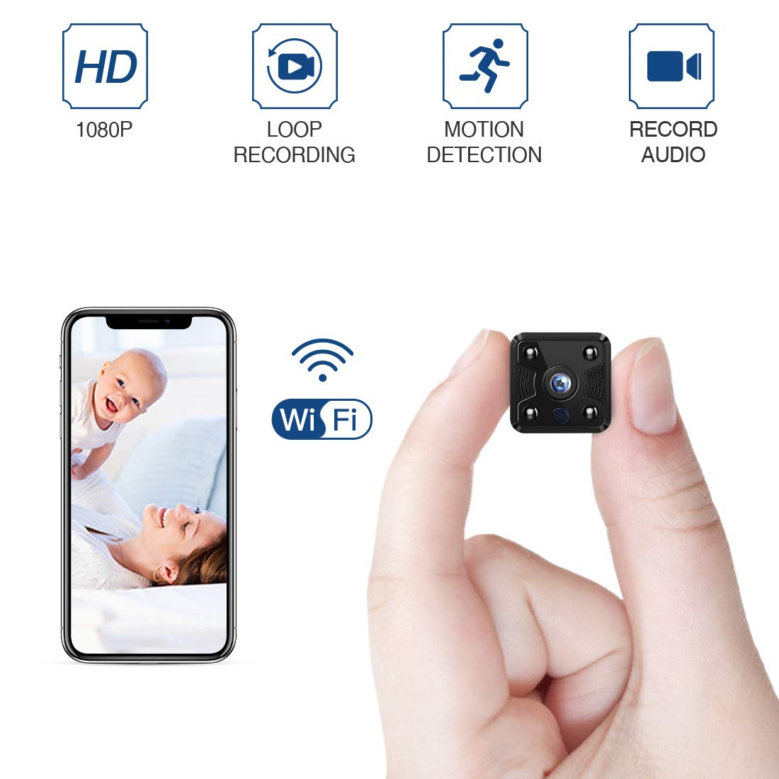 FREDI Hidden Spy Camera, 1080P HD Mini Wireless WiFi Small Nanny Cam with Night Vision, Motion Detection, Loop Recording, Flexible Magnetic Bracket for Home and Office - Work with iOS Android PC by FREDI
