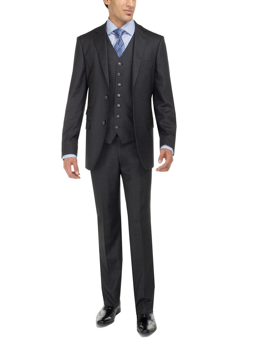 Luciano Natazzi Men's Two Button Bird's Eye 3 Piece Modern Fit Vested Suit (38 Regular US / 48 Regular EU, Charcoal)