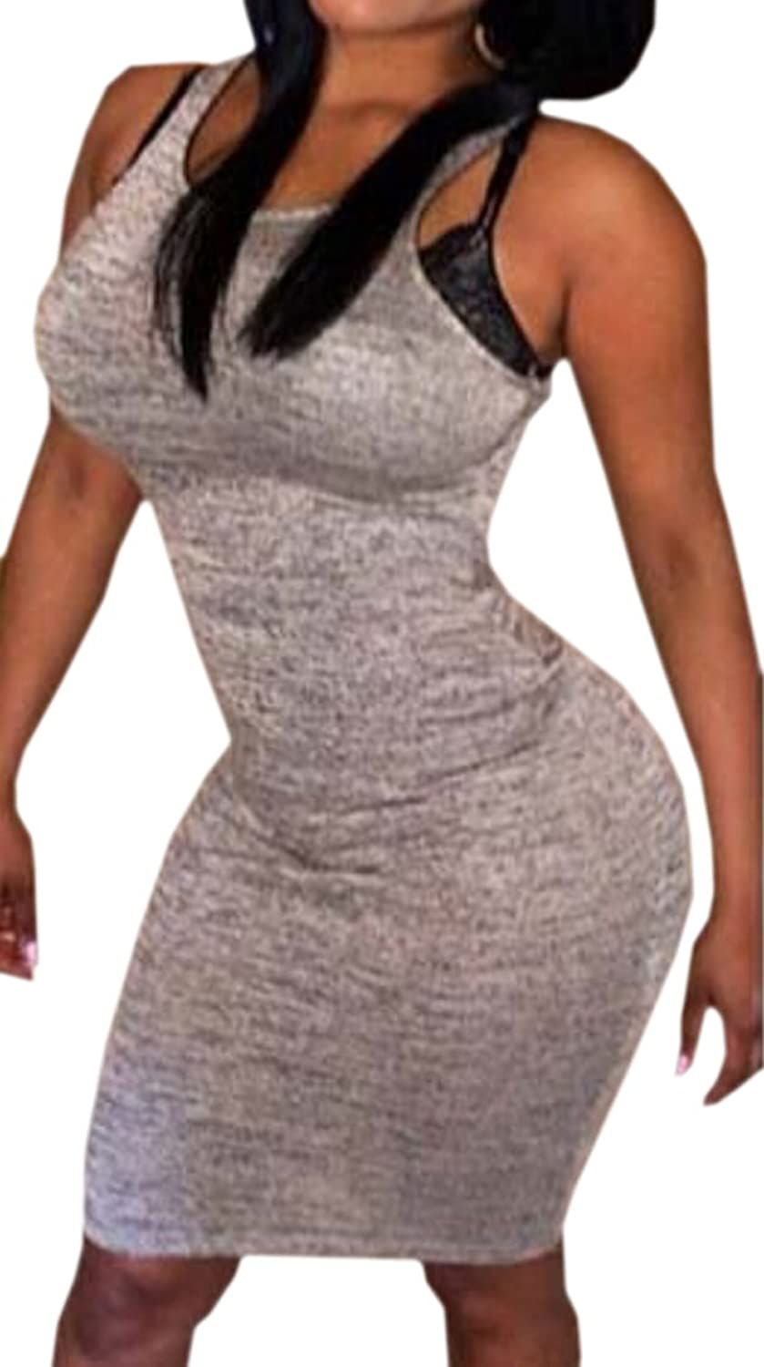 Unko Women's Sexy Bodycon Package Hip With Sleeveless Dress