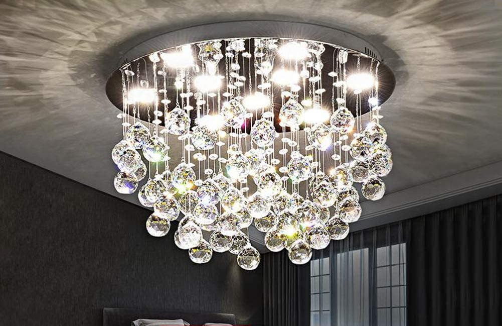 7PM Chandelier Modern K9 Crystal Raindrop Chandelier Lighting Flush Mount LED Ceiling Light Fixture Pendant Lamp for Dining Room Bathroom Bedroom Livingroom 9 GU10 Bulbs Required H13 X D20