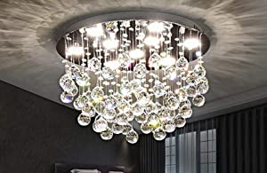 7PM Chandelier Modern K9 Crystal Raindrop Chandelier Lighting Flush Mount LED Ceiling Light Fixture Pendant Lamp for Dining Room Bathroom Bedroom Livingroom 9 GU10 Bulbs Required H13 X D20