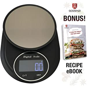 Godenzi Precise 0.1g Kitchen Scale with Hydroweigh, 5kg Capacity, Compact; Highly Accurate Digital LCD, Tare, Coated Stainless Surface, Recipe Ebook & Batteries