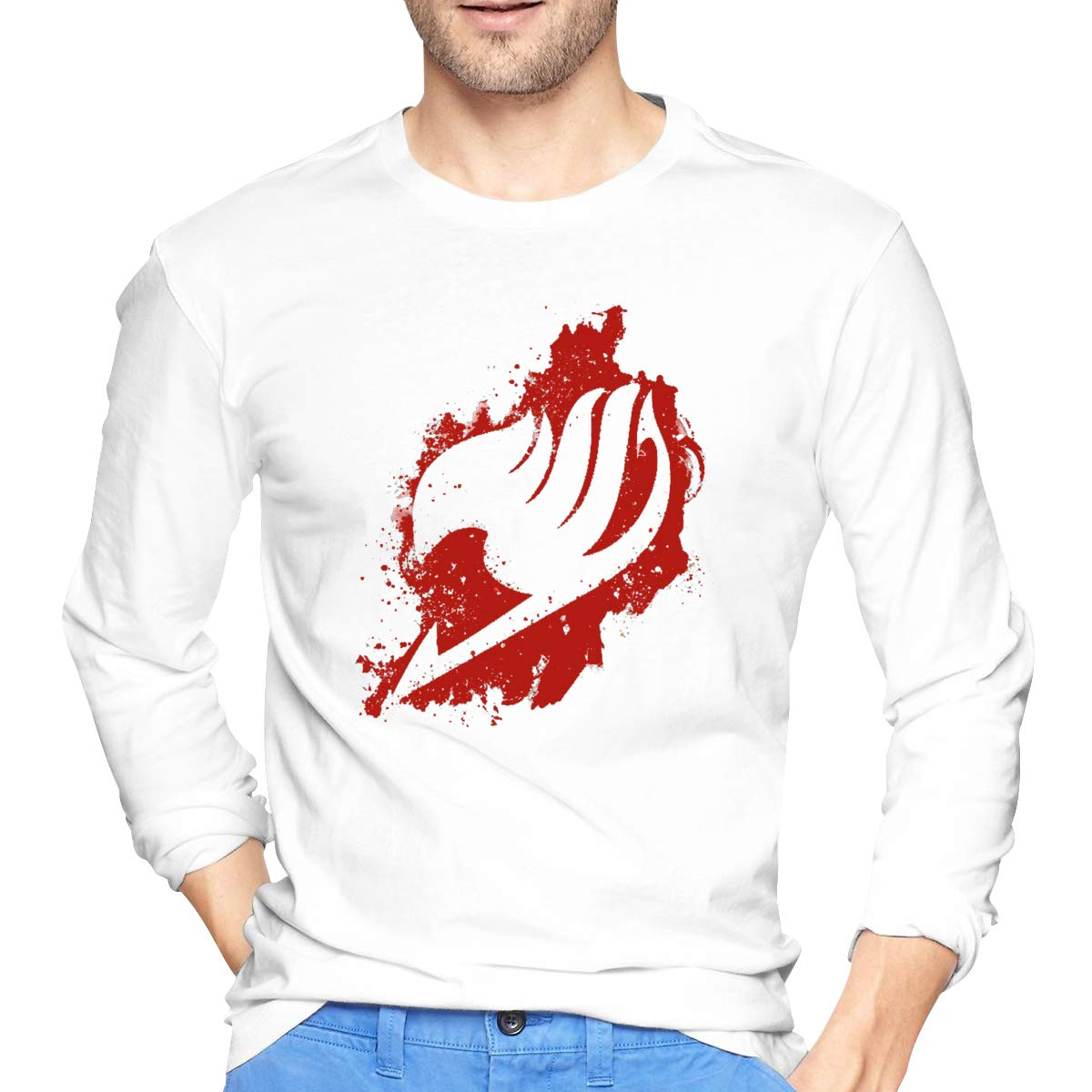 AIDEAR Fairy Tail Mens Long Sleeve T-Shirts 100/% Organic Cotton Long Sleeve T Shirt for Mens