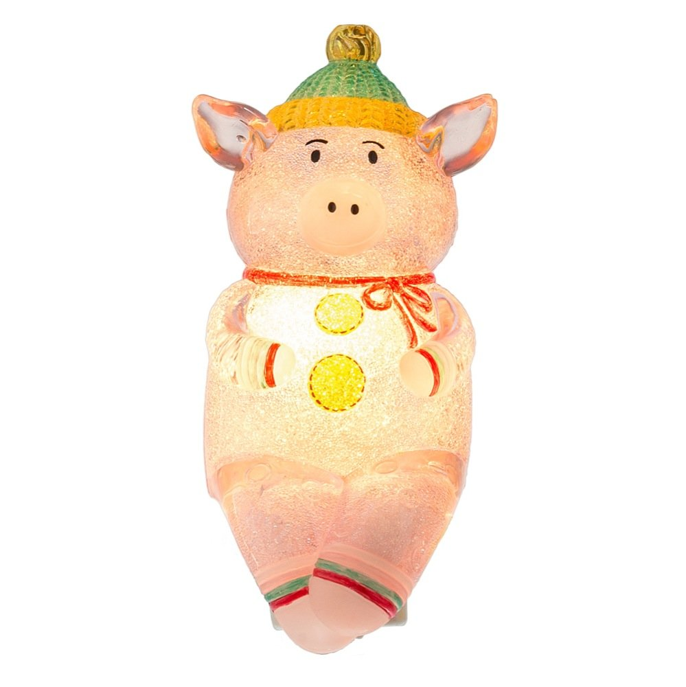 Cold Weather Pig 2.5 x 5 Inch Acrylic Electric Wall Plug-In Night Light