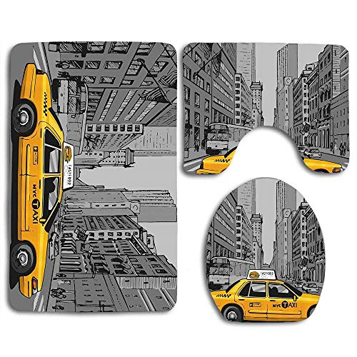 (YGUII New York City Metropolitan Buildings and Taxi Cartoon Sketchy Image 3pcs Set Rugs Skidproof Toilet Seat Cover Bath Mat Lid Cover Cushions Pads)