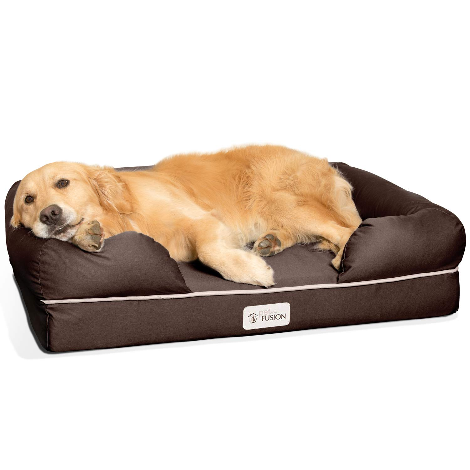 PetFusion Large Dog Bed w/Solid 4'' Memory Foam, Waterproof Liner, YKK Premium Zippers. [Brown, 36x28x9 - Sized for Medium & Large Dogs]. Breathable Cotton Blend Cover, Removable & Easy to Clean