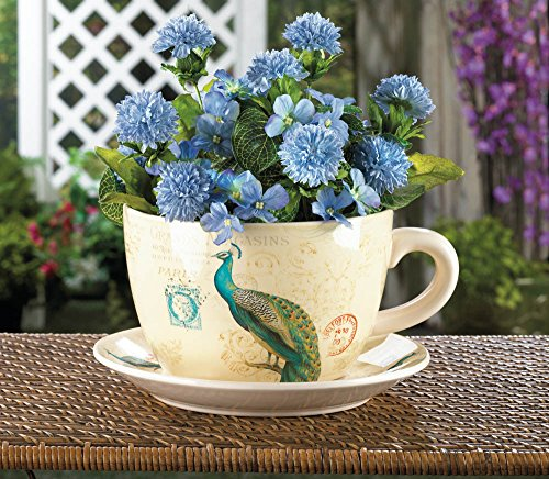 Large Outdoor Planters, Modern Contemporary Gardening Peacock Teacup Planter ()