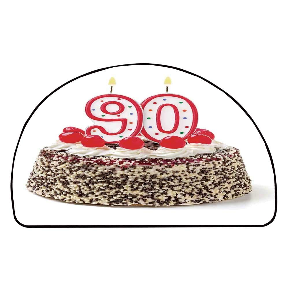 C COABALLA 90th Birthday Decorations Comfortable Semicircle Mat,Birthday Cake with Cherries Burning Candles Number Ninety for Living Room,11.8'' H x 23.6'' L