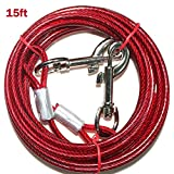 PETJOY 15ft Dog Tie Out Cable,Steel Wire Rope with Dual Heads Metal Hooks for Pet Dogs (Red)