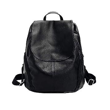 Bolsos Mochilas Mujer Casual Negro con Cremallera Color Sólido de Moda de Cuero Suave Simple Atmósfera Bolsos Totes para Diario Ocio y Viaje Messenger Bag ...