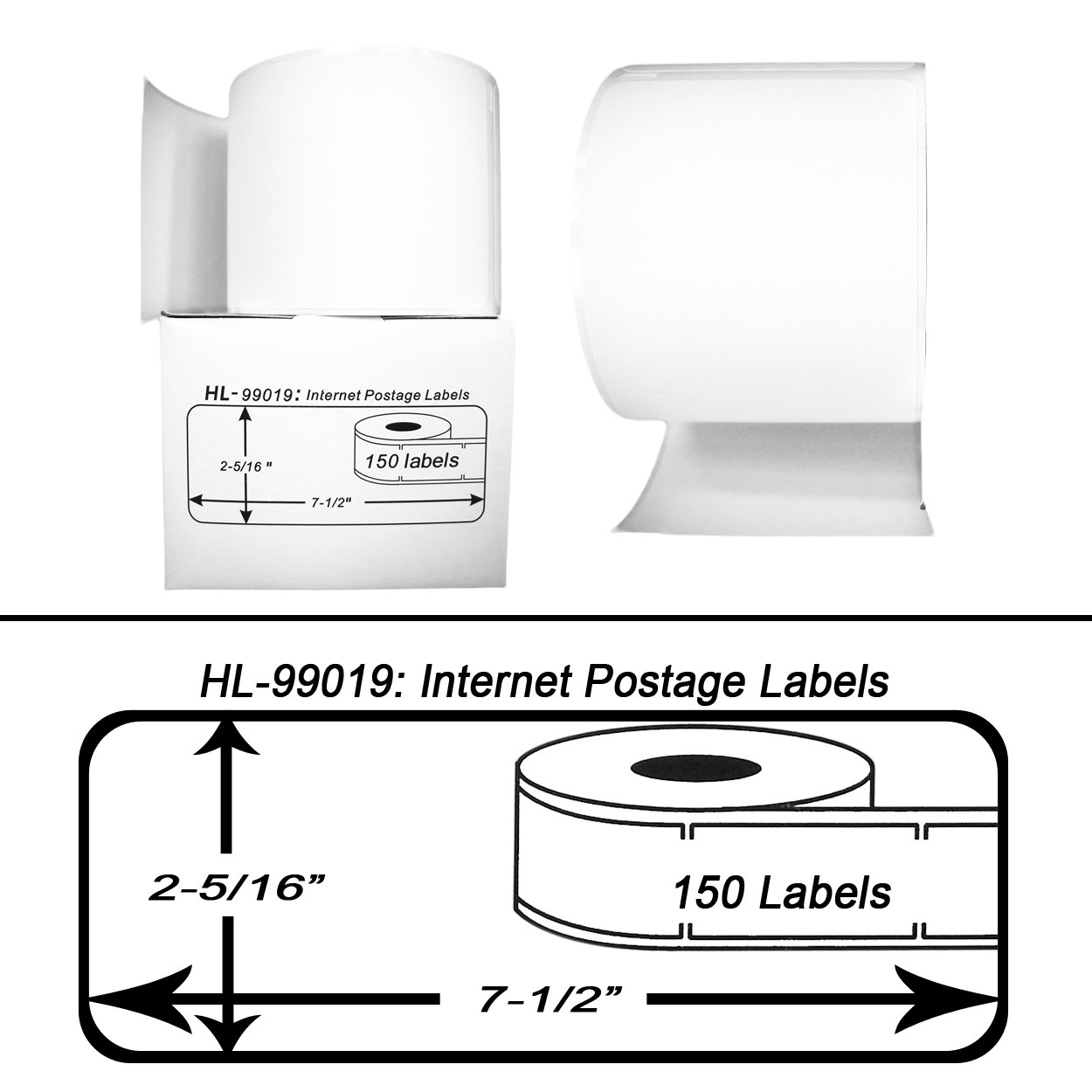 2 Rolls; 150 Labels per Roll of DYMO-Compatible 99019 1-Part Internet Postage Labels BPA Free! 2-5//16 x 7-1//2