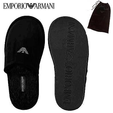 694ea5a1d70 Emporio Armani UNDERWEAR Black VELVET Velour Eagle Logo Men s Mules Winter  Fur Slippers Warm UK 7-8  Amazon.co.uk  Shoes   Bags