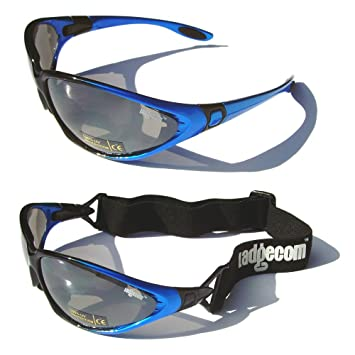 91df1f3a09d Ladgecom Blue All-Weather Sunglasses   Goggles with Head Strap for Cycling