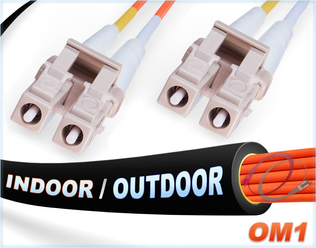 FiberCablesDirect -100M OM1 LC LC Fiber Patch Cable | Indoor/Outdoor 1Gb Duplex 62.5/125 LC to LC Multimode Jumper 100 Meter (328ft) | Length Options: 0.5M-300M | 1/10g sfp 1gbase mm ofnr Black lc-lc