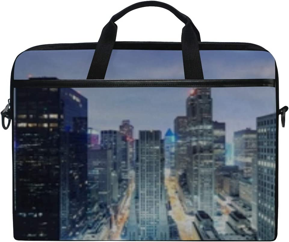 New York Night Skyscrapers Top View Light Laptop Shoulder Messenger Bag Case Sleeve for 14 Inch to 15.6 Inch with Adjustable Notebook Shoulder Strap