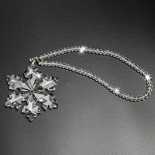H&D Car Rear View Mirror Ornament Pendant Crystal Snowflake Hanging Car Accessories by H&D