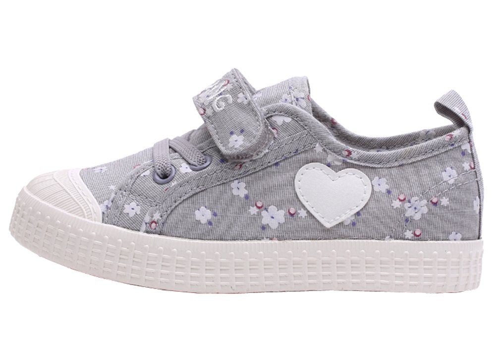 VECJUNIA Girls Sweet Floral Heart Painted Round Toe Canvas Shoes Gray 11.5 M US Little Kid by VECJUNIA (Image #5)