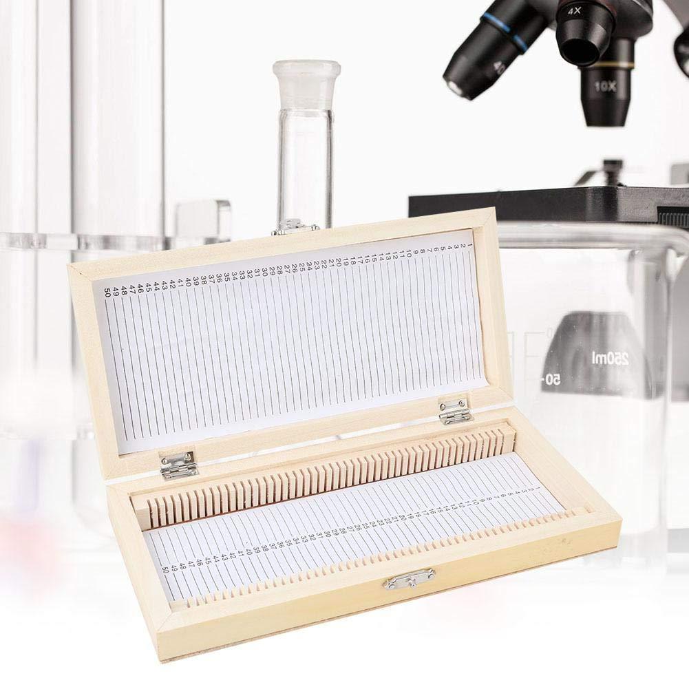 Naroote 50PCS Biolog/¨/ªa Vidrio Preparado Microscopio Portaobjetos Muestras Caja de Cajas de Almacenamiento de portaobjetos de Madera