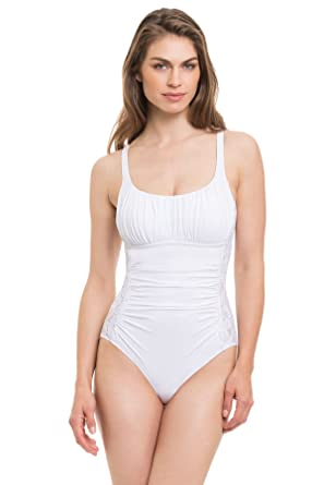3d70d6ad1a33e Profile by Gottex Women s Allure One Piece Wide Strap Tank Swimsuit White 6