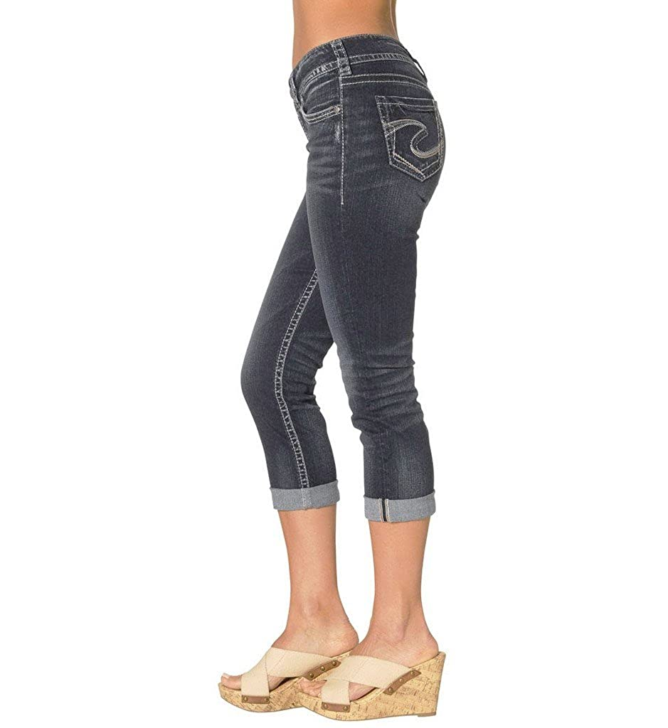Silver Jeans Womens Dark-Wash Suki Capri Jean