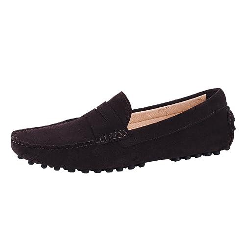 Santimon Hombre Cuero Mocasines De Conducción Resbalón En Los Zapatos Café 45: Amazon.es: Zapatos y complementos