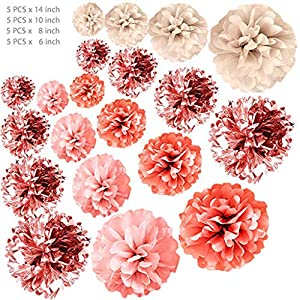 LLJEkieee 20 PCS Rose Gold Party Decorations - Metal Foil and Tissue for Birthday Party, Baby Shower,Bridal Shower Or Wedding Decoration 54