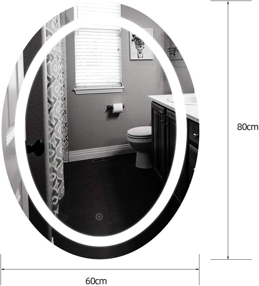 LED Spiegel,Kaltwei/ß Ber/ührungsschalter 50 * 70 cm 6400K + 5050LED wasserdicht Turefans Badezimmerspiegel