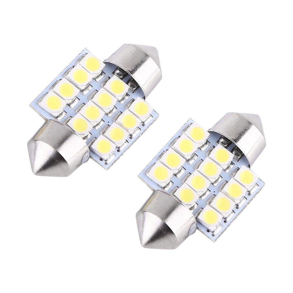 VGEBY 1 Paire 12V 31mm 12SMD Ampoules LED Plafonnier Voiture Inté rieur Lumiè res Au Toit D'une Auto Lampe De Lecture Lumiè re Double Pointus