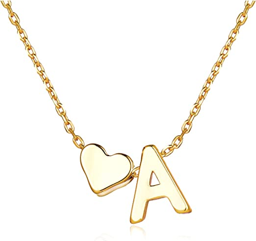 Ladies Girls 26 Initial Letter Heart Chain Alphabet Charm Pendant Necklace
