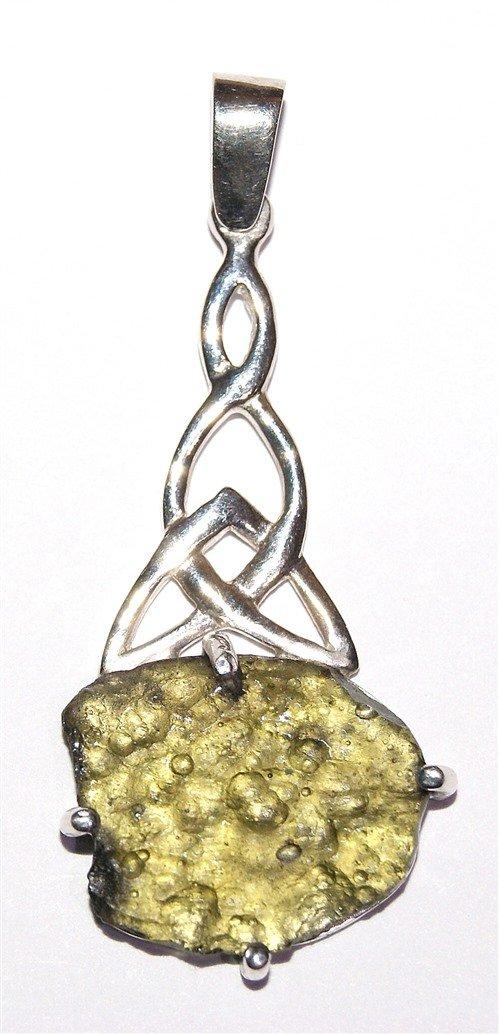 Moldavite Sterling Silver Pendant Celtic Design C02