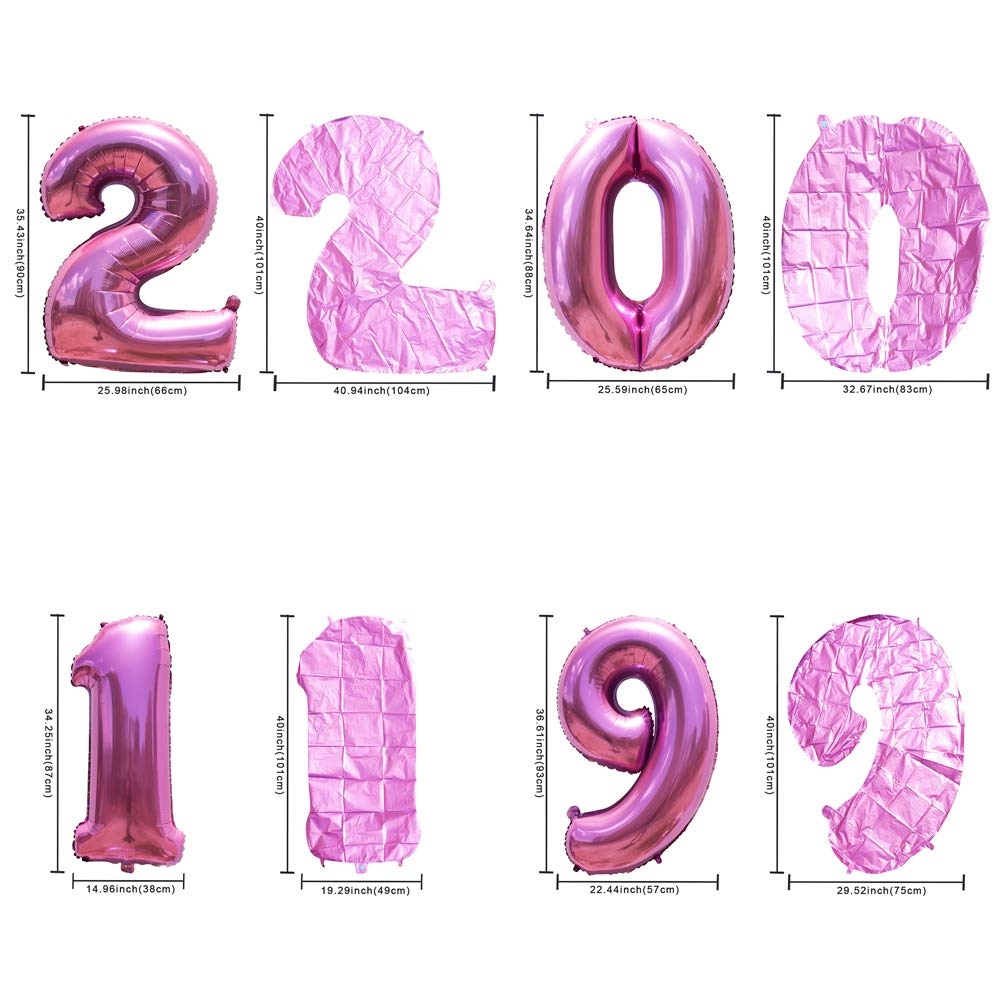 2019 Balloons 40inch Foil Number Balloons New Years Eve Balloons Graduation Party Supplies Anniversary Wedding Ceremony Birthday Decorations with Curling Ribbons and Straw of 2019 BALLOON Pink
