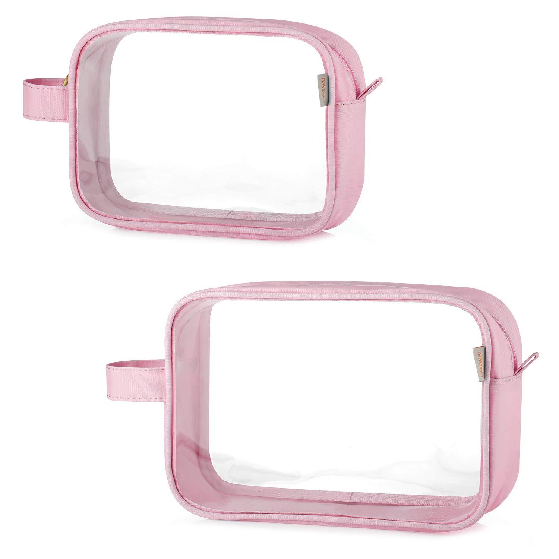 GAGAKU TSA Approved Clear Toiletry Bag Transparent Makeup Bags Set Waterproof Wash Bag 2pcs – Pink