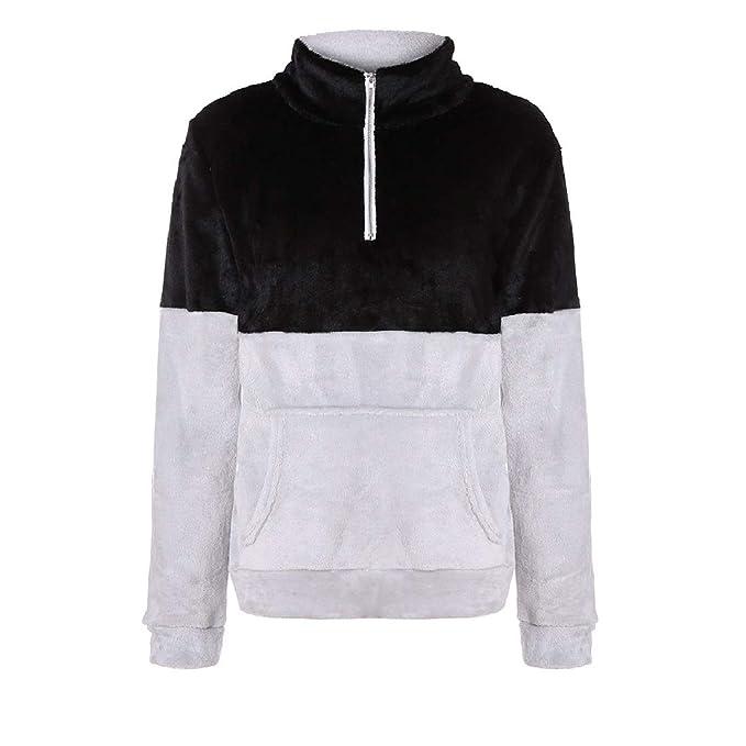 YUNY Womens Plush Faux Shearling Solid Sweatshirt Pullover Outwear Coat Black XS