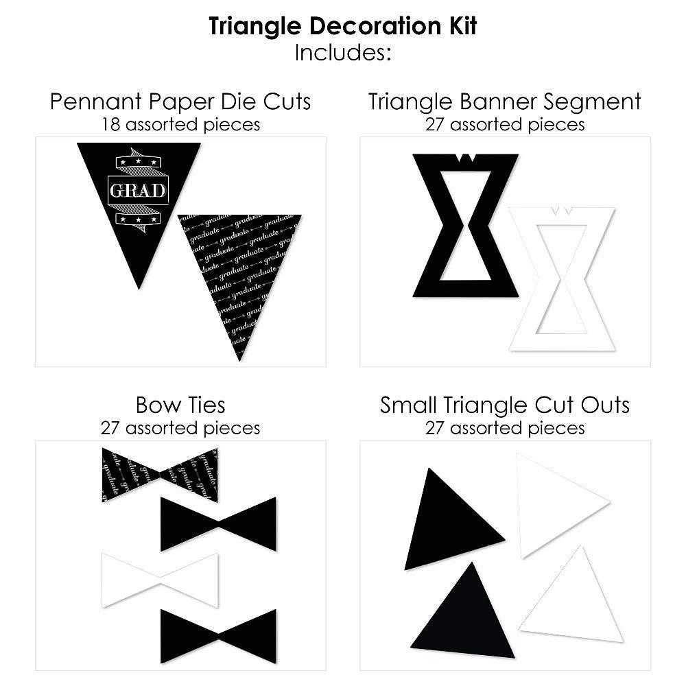 72 Piece Triangle Graduation Party Decoration Kit Big Dot of Happiness Graduation Cheers