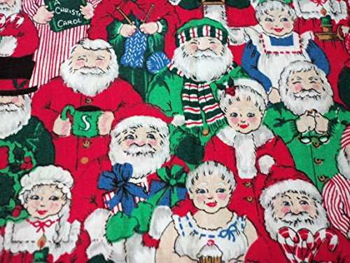 Santa and Mrs. Claus Fabric In Their Different Outfits Cute Christmas By The Fat Quarter BTFQ New (Mrs Christmas Outfit)