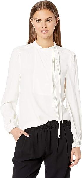 a81ee9465e737 Amazon.com  BCBGMAXAZRIA Women s Long Sleeve Tie Front Blouse  Clothing