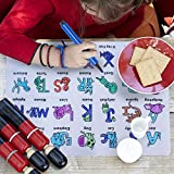 Kanacci Painting Silicone Kids Placemat Foldable Washable with 12 Nontoxic Markers for Children Drawing Painting Non Slip & Soft