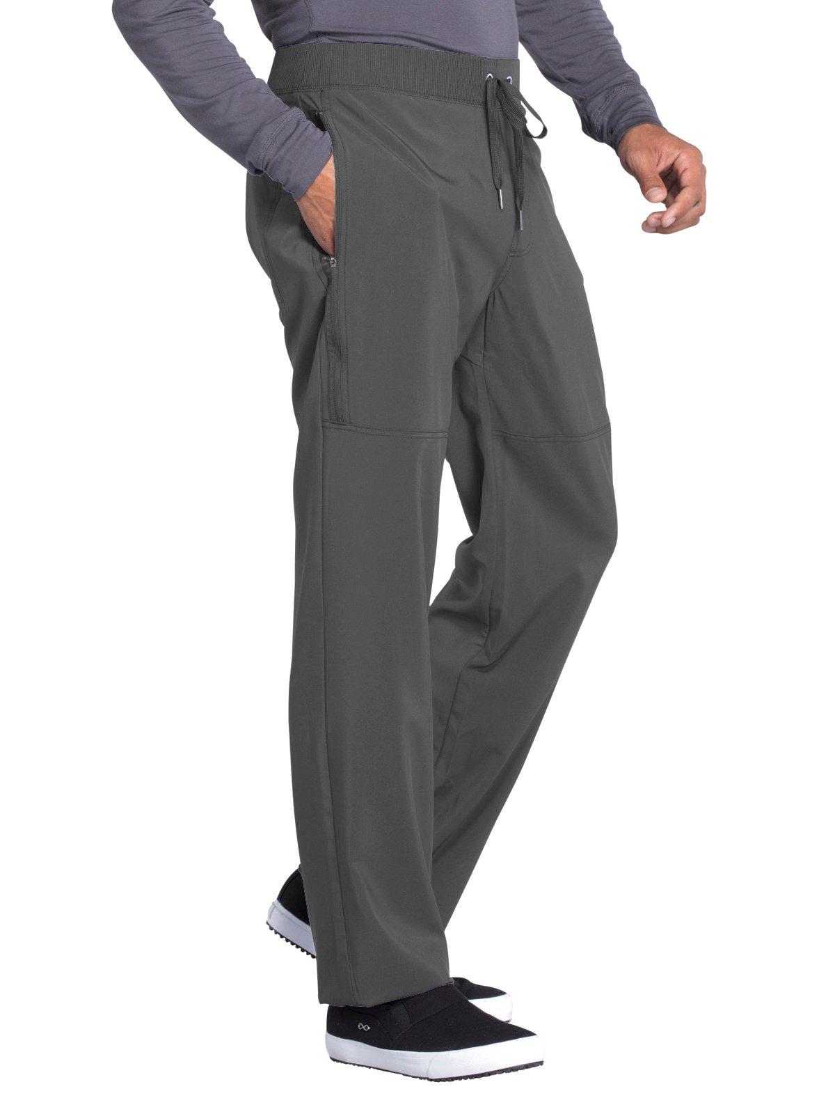 Cherokee Infinity Men's Tapered Leg Knit Waistband Drawstring Scrub Pant X-Large Tall Pewter
