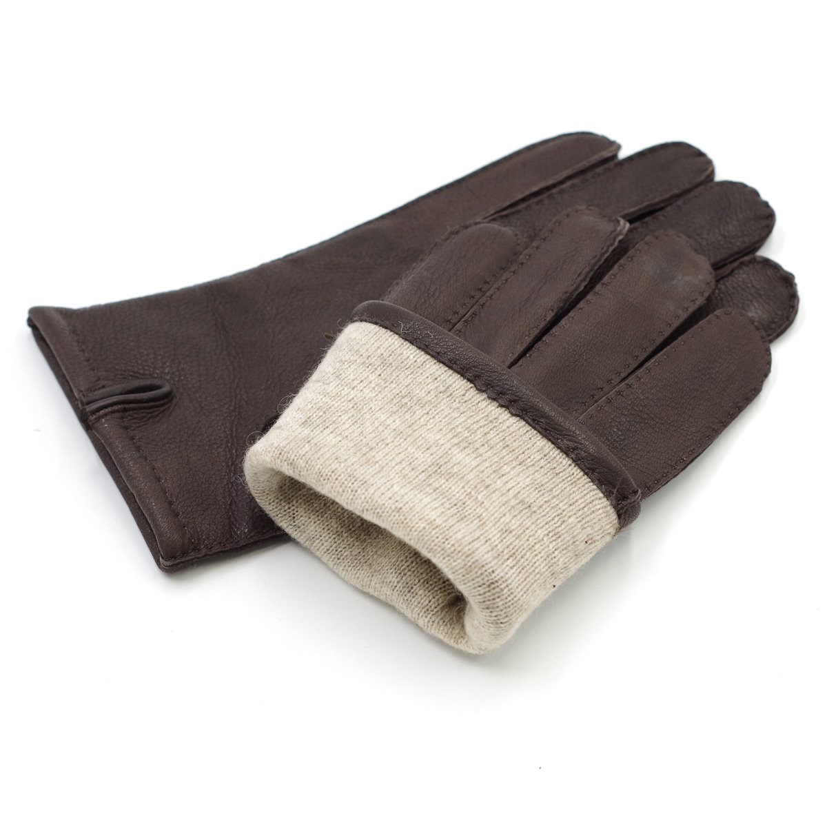 L Brown Harssidanzar Mens Luxury Italian Sheepskin Leather Gloves Vintage Finished Cashmere Lined Upgrade