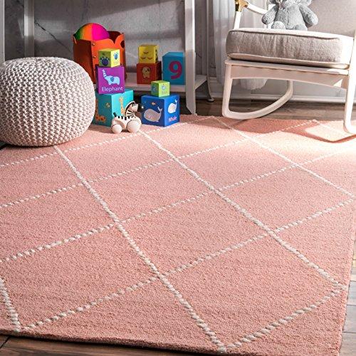 nuLOOM Dotted Diamond Trellis Wool Rug, 4' x 6', Baby Pink (Kids 4x6 Rug)