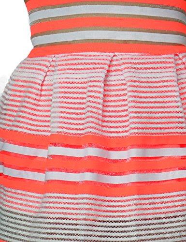 Women's Fashion Cute Multi-Stripe Textured Bell Mini Skirt Zipper Back Closure (MEDIUM, ORANGE-PS611)