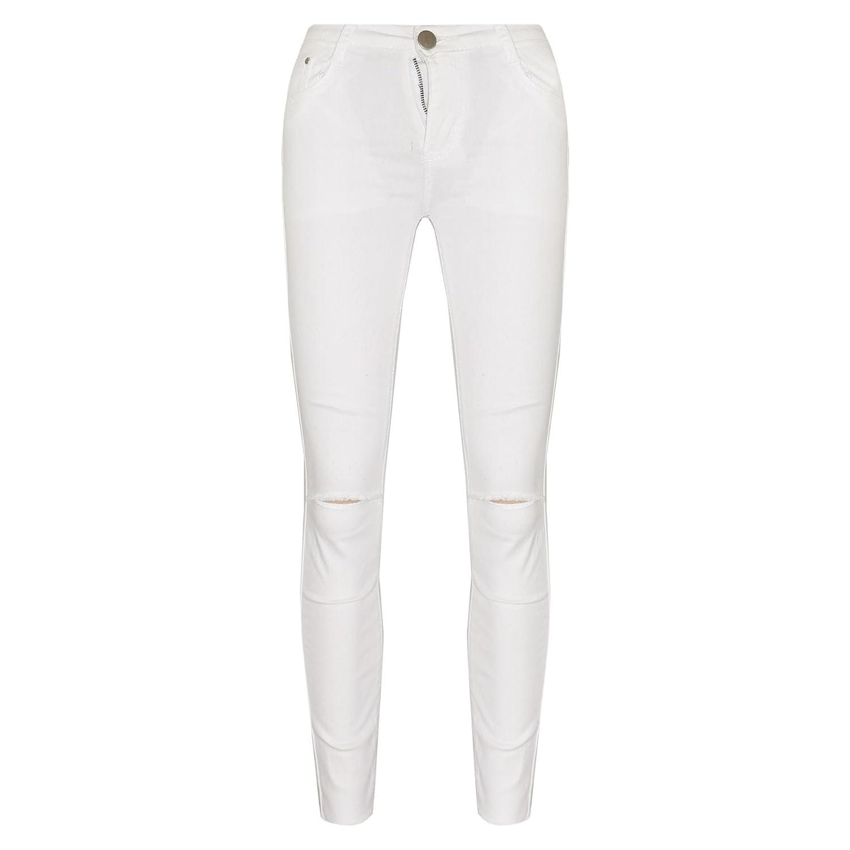 A2Z 4 Kids® Ragazze Elastico Bianco Jeans Bambini Strappato Denim Pantaloni Moda Pantaloni Jeggings età 5 6 7 8 9 10 11 12 13 Anni
