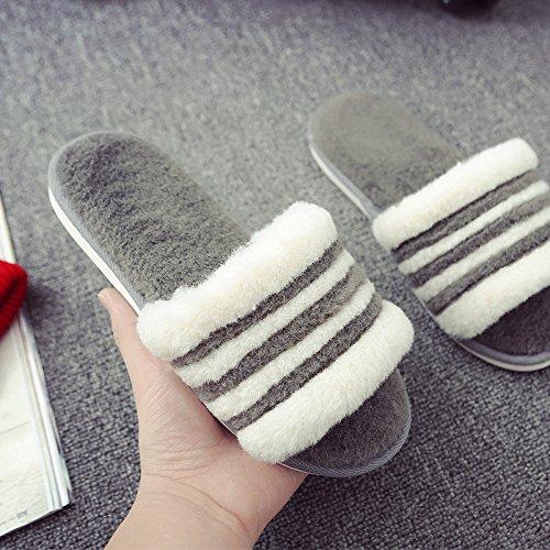 Cotone fankou pantofole coppia femminile spesso soggiorno invernale pantofole parola maschio ,43/44, grigio