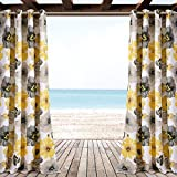 Ln 2 Piece Yellow Floral Gazebo Curtain Panel 84 Inch, Gray Tropical Print Outdoor Curtain Water Resistant For Patio Porch, Nautical Indoor/outdoor Drapes Pergola Garden Sunroom Grommet, Polyester