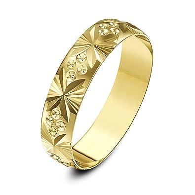 Theia Anillo de Bodas de Oro Amarillo, 9k, Peso Pesado, Diseño de Circulo